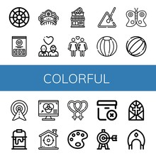 Set Of Colorful Icons Such As Color Circle, Jelly Beans, Kokoshnik, Gay, Pizza Shop, Lesbian, Triangle, Beach Ball, Butterfly, Target, Paint Bucket, Rgb, Paint Palette , Colorful