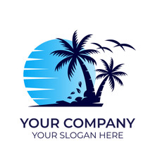 Beach Logo Design With Modern Concepts Vector Template On White Background