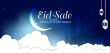 Sale Banner Or Sale Poster For Festival Of Eid Mubarak, Web Header Or Banner Design With Crescent Moon And Flat 50% Off Offers On  Blue Background.