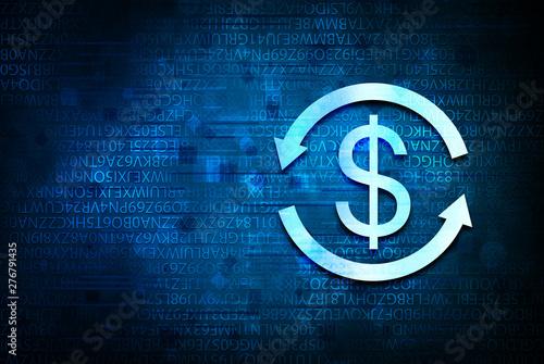 Fototapeta  Money exchange dollar sign icon abstract blue background illustration design