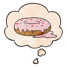 Cartoon Donut And Thought Bubble In Grunge Texture Pattern Style