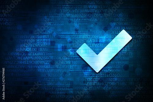 Fotografía  Tick mark icon abstract blue background illustration design