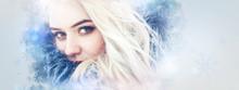 Winter Beauty Woman. Christmas Girl Makeup. Creative. Art Design. Copy Space