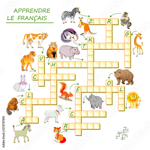 graphic relating to Back to School Crossword Puzzle Printable known as Study French. Crossword puzzle activity with pets