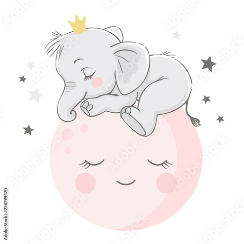 Fotografie, Obraz Vector hand drawn illustration of a cute baby elephant, sleeping on the pink moon