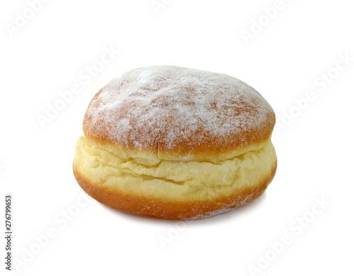 Leinwand Poster German doughnut berliner with icing sugar isolated on white