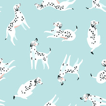 Cute Funny White Spotted Dogs On The Blue Background. Dalmatian Fabric Design. Vector Print With Dogs.