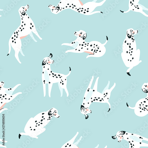 obraz lub plakat Cute funny white spotted dogs on the blue background. Dalmatian fabric design. Vector print with dogs.