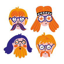 Funny Set Of Cute Hippies Portraits. Vector Avatars For Festival. Hand Drawn Stylish Faces.