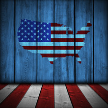 USA Background On Wood Planks, Perspective Room Style.