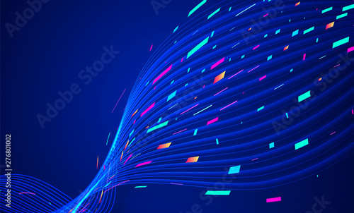 Abstract Lines Background With Colorful Particles Dynamic