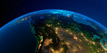 Detailed Earth At Night. Western And Northern Canada - British Columbia, Alberta And Other Provinces