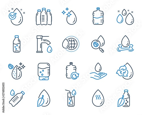 Fototapeta Water drop line icons. Set of Bottle, Antibacterial filter and Tap water linear icons. Bacteria, Cooler and Refill barrel bottle. Liquid drop, antibacterial cleaner and drink machine, tap. Vector obraz