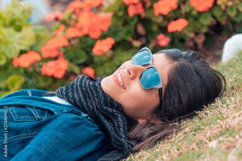 Valokuva  Mujer joven aventurera y viajera en Cajamarca Perú