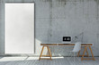 3d rendered modern workplace with empty whiteboard