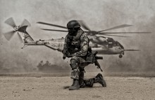 Military Soldier Between Dust ...