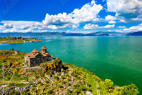 Leinwand Poster Hayravank monastery on the shores of lake Sevan in Armenia