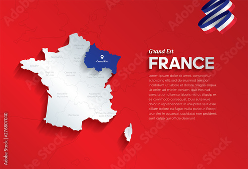 Poster Affiche vintage Vector isolated illustration of simplified administrative map and flag of France. Blue shape of Grand Est. Borders of the provinces (regions). Grey silhouettes.