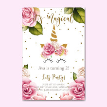 Beautiful Birthday Invitation With Watercolor Flowers And Unicorn Horn