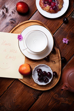 Happy  Morning . Life Style Shot Morning Tea With Bakery, Fruits,  Flowers And Nice Note