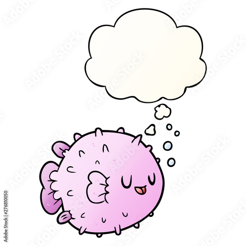 Photo cartoon blowfish and thought bubble in smooth gradient style