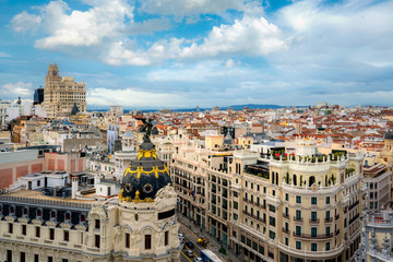Madrid panoramic aerial view of Gran Via, main shopping street in Madrid, capital of Spain, Europe.