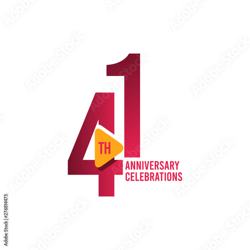 Tela 41 Years Anniversary Celebration Vector Template Design Illustration