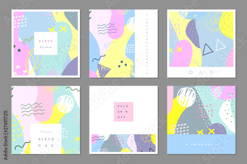 Fotografie, Obraz  Set of abstract multipurpose card template