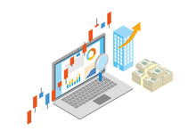 株価上昇 株式 為替 高騰 金融 3D アイソメ図 イメージ
