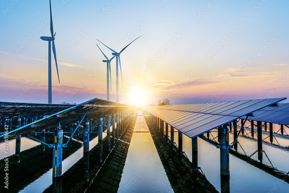 Fototapety, obrazy: Solar panels and wind power generation equipment