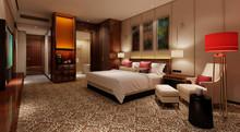 Hotel Room Interior 3D Illustr...