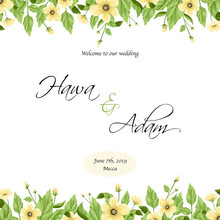 Wedding Invitation Template With Yellow Flowers Border Background.