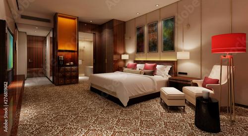 Fotografia  Hotel Room Interior 3D Illustration Photorealistic Rendering