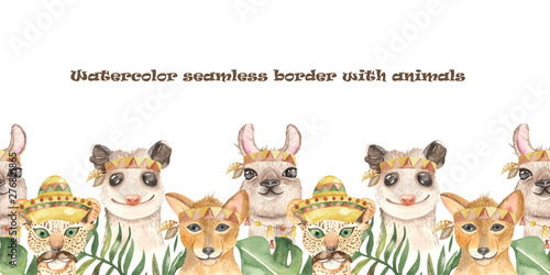 Watercolor seamless border with mexican cute cartoon animals. Texture for wallpaper, fabric, textiles, packaging, baby shower, logo, prints, cover design.