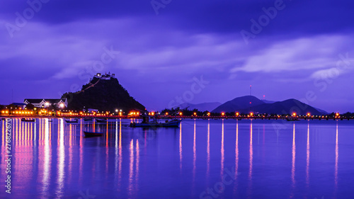Foto op Plexiglas Donkerblauw landscape of sea in twilight time , Thailand