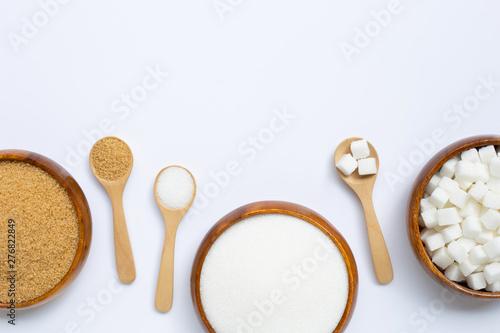 Fotografie, Obraz  Various types of sugar on white background.