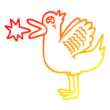 Warm Gradient Line Drawing Cartoon Quacking Duck