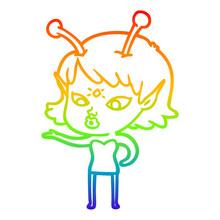 Rainbow Gradient Line Drawing Pretty Cartoon Alien Girl