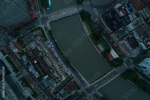 Fotografia  Aerial view from above Suzhou River in the dawn, on a cloudy day, Shanghai city,