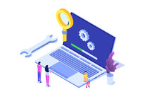Laptop System Update Flat Style Concept. Vector Isometric Illustration