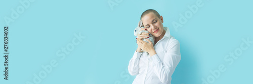 Stampa su Tela  Portrait confident happy young woman Human emotion