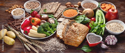Tuinposter Eten Healthy natural ingredients containing dietary fiber.