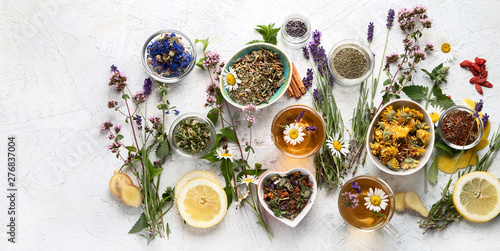 Spoed Foto op Canvas Lavendel Various kinds of herbal tea