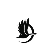 Black Swan Logo Icon Design Vector Illustration