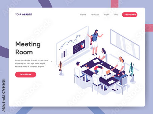 Landing page template of Meeting Room Illustration Concept Canvas Print