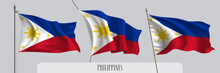 Set Of Philippines Waving Flag On Isolated Background Vector Illustration