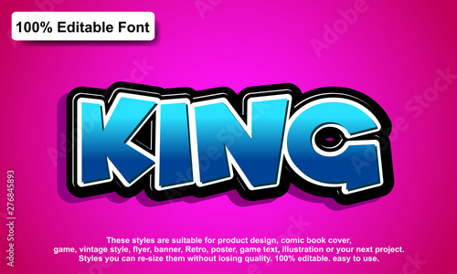 Fototapeta editable font, font effect style obraz