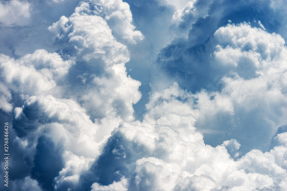 Fototapety, obrazy: Detail of white clouds in the sky - Cumulonimbus