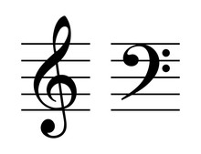Treble And Bass Clef On Five-l...