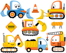 Vector Set Of Construction Vehicles Cartoon